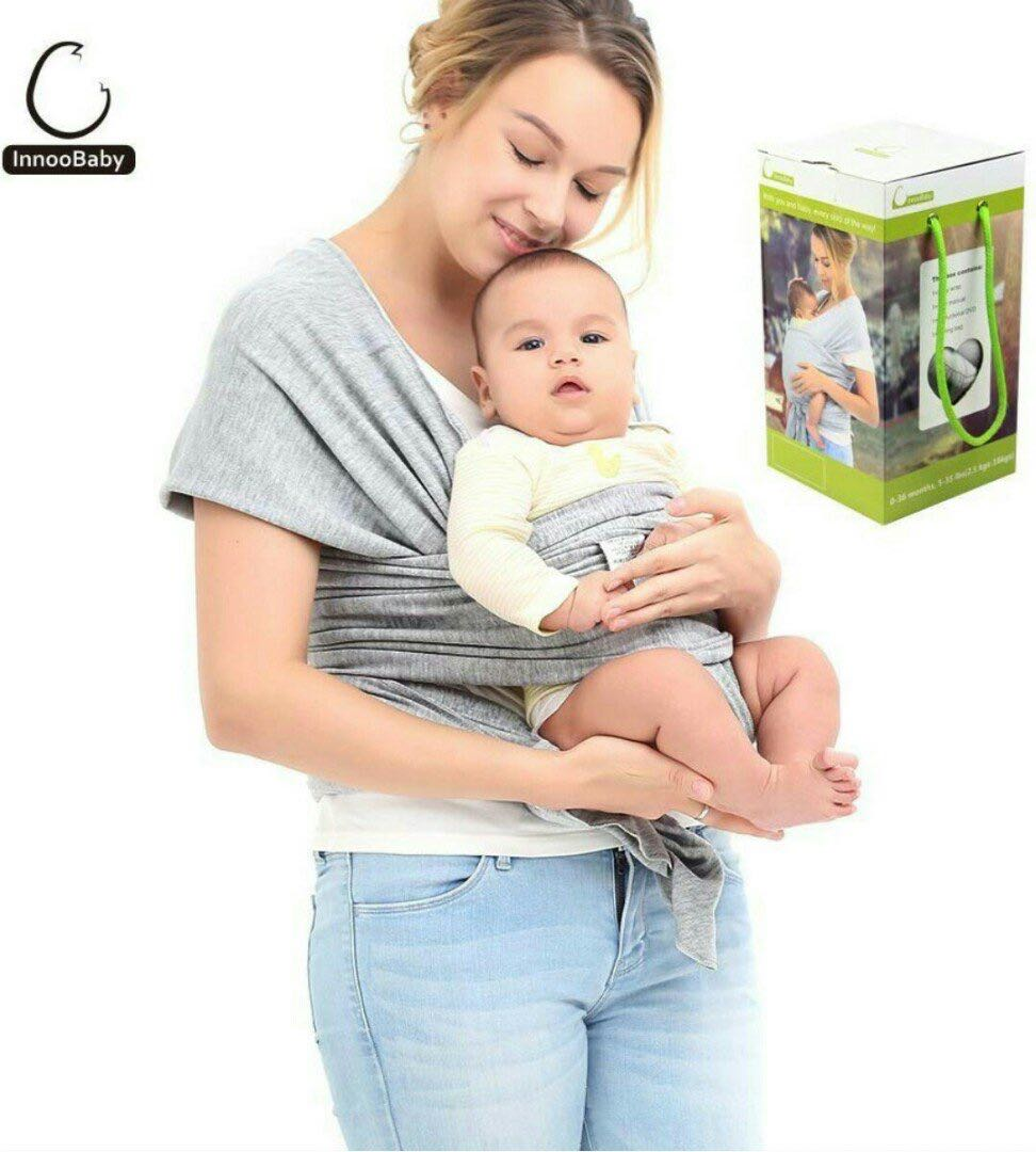 d5d64cea19a 1115) Innoo Tech Baby Sling Carrier Natural Cotton Nursing Baby Wrap ...