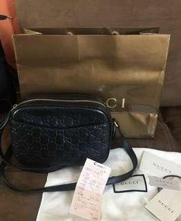 Gucci Linea monogrammed cross body bag black