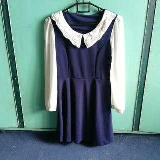 Navy blue with white long-sleeved dress