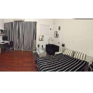 IKEA 黑白條紋窗簾 360*250 與雙人床包組 TUVBRACKA經典配色 簡約風格窗簾
