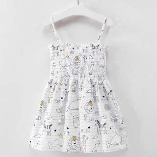 Girl Summer Animal Print Wrap Chest Slip Backless Dress