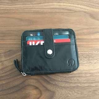 Black Crinkled Leather Design Unisex Short Wallet @sunwalker