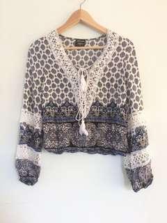 Boho Long Sleeve Pattern Top