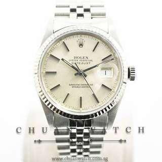 Pre-Owned Rolex Vintage Gents' DateJust 36mm 16014 Silver Sunburst Index - Discontinued