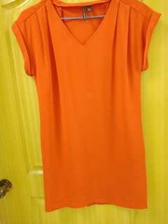 🚚 Mango橘色洋裝9成新
