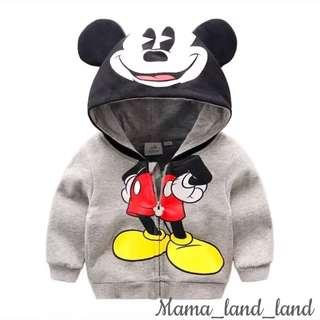 <Hot items 🎉> classic lovely Mickey Mouse cotton print hoodie with long sleeve zip up baby & kid boy jacket