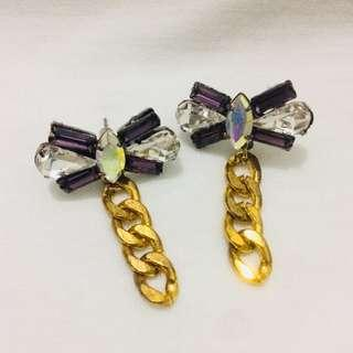 Faux Gems Ribbon Earrings with Gold Chain
