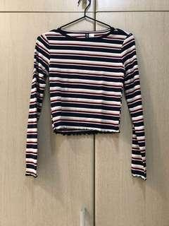H&M Striped Long Sleeves Crop Top