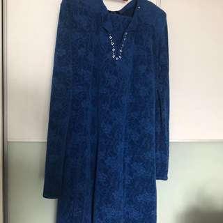 [Preloved] Velvet Electric Blue Beaded Baju Kurung Moden