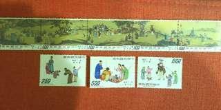 🚚 清丁觀鵬春市圖古畫郵票全套8枚