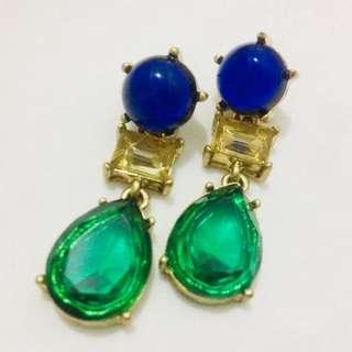 Faux Gems Blue and Jade earrings