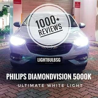 Opel Insignia on H7 philips diamondvision white halogen car headlight bulb + installation