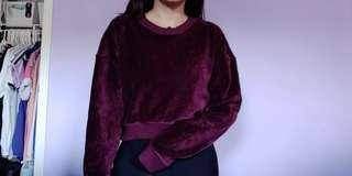 Forever 21 Burgundy Velour Ribbed Cropped Sweater