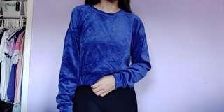 Forever 21 Blue Velour Cropped Sweater