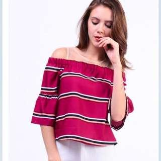 Dressabelle Netted Neckline Cold Shoulder Striped Top (Red)