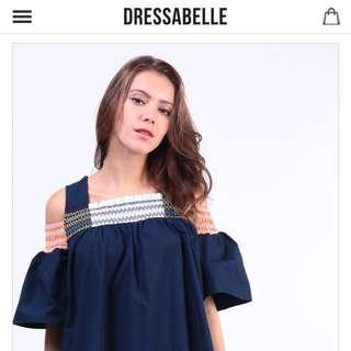 Dressabelle Gathered Neckline Drop Sleeve Dress Dress (Navy)
