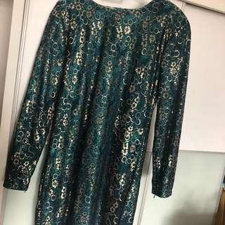 [Preloved] Lace Baju Kurung Moden Turquoise