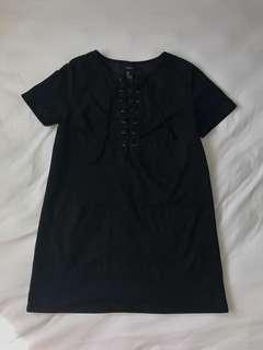 Forever 21 Black Suede Lace-Up Mini Dress (with Pockets)!