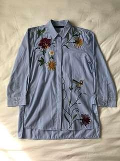 Zara Embroidered Button Down Shirt
