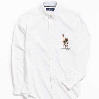 Ralph Lauren embroidered polo bear collared formal shirt