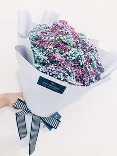 Tinted baby's breath bouquet