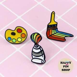 [AVAIL] Rainbow Palette, Paint Tube, Paint Brush Enamel Pins