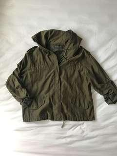Brandy Melville Green Anorak/Cropped Military Jacket