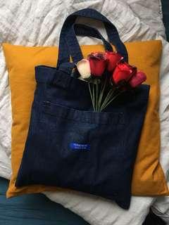 [PERMANENT VACATION] Blue Raw Denim Pocket Tote Bag Melbourne NEW