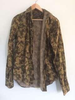 Zara Men Camo Jacket Top Button Up
