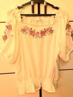 White Offshoulder Embroidered Top