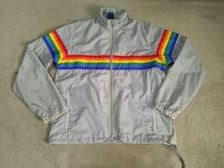 Vintage 80's OCEAN PACIFIC Rainbow Stripe windbreaker jacket
