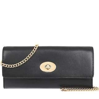 BNWT AUTHENTIC  COACH TURNLOCK SLIM ENVELOPE IN SMOOTH LEATHER (COACH F53890) IMITATION GOLD/BLACK
