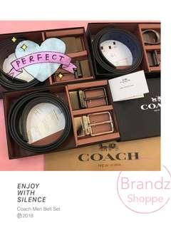 👑Fast Deal! 💯% Coach Men Leather Belt Gift Set (Type G / Type H) Ready Stock!