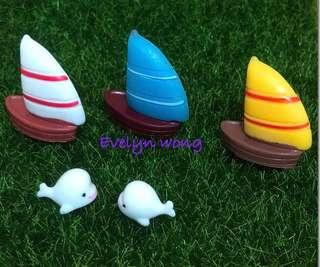 ☘ Terrarium Accessories / Miniature / scrapbooking, gardening deco, photo frame deco, home deco, figurine etc - Sailing boat / Cute Dolphin