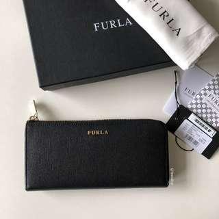 Authentic Furla Black Leather Babylon Zip Around Onyx Wallet
