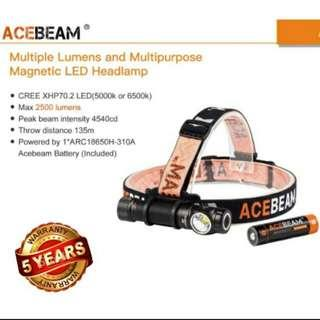 (FREE Delivery_2,500 Lumens) ACEBEAM H15 L-Shape Headlamp + Torchlight with 16 Brightness Levels