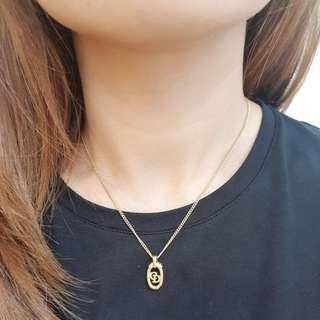 Christian Dior 24k Gold Necklace with CD Pendant