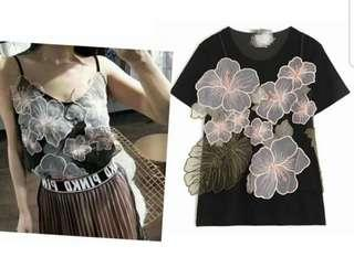 5pcs set embroidery organza flower patches