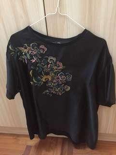 Zara black embroidery top