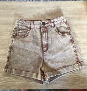 USED HW BROWN DENIM SHORTS