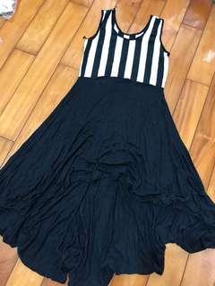 🚚 前短後長無袖條紋裙子