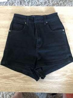 USED BLACK HW DENIM SHORTS