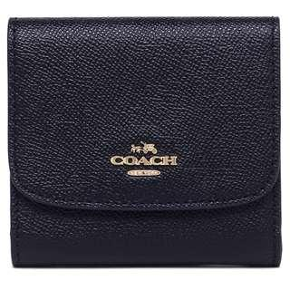 🚚 NEW ARRIVAL Coach Small Wallet In Crossgrain Leather Midnight Blue With Gift Box