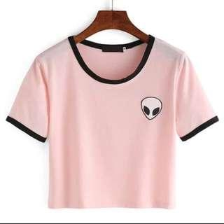 Pink alien t shirt with black outlining