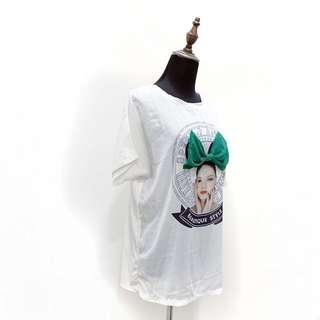 🚚 歐美雪紡休閒寬鬆T恤 綠色立體蝴蝶結 雪紡 寬鬆 歐美 街頭風