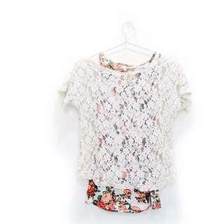 🚚 玫瑰蕾絲花紋兩件式罩衫 罩衫 玫瑰 蕾絲 透膚 兩件ㄕˋ