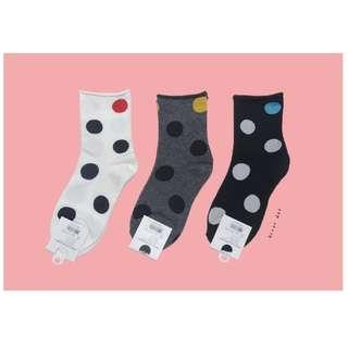 。error dot。韓國製注目跳色圓點捲邊襪子