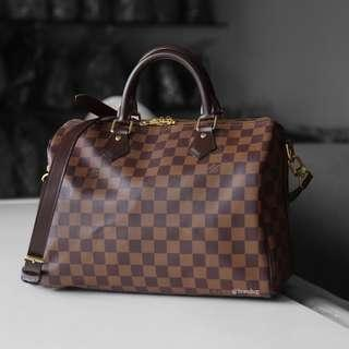 Authentic Louis Vuitton Damier Ebene Speedy Bandouliere 30 LV