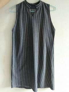 Striped grey  t-shirt dress