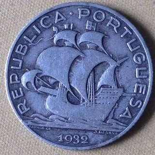 1932 Portugal 2-1/2 Escudos (1st year) silver